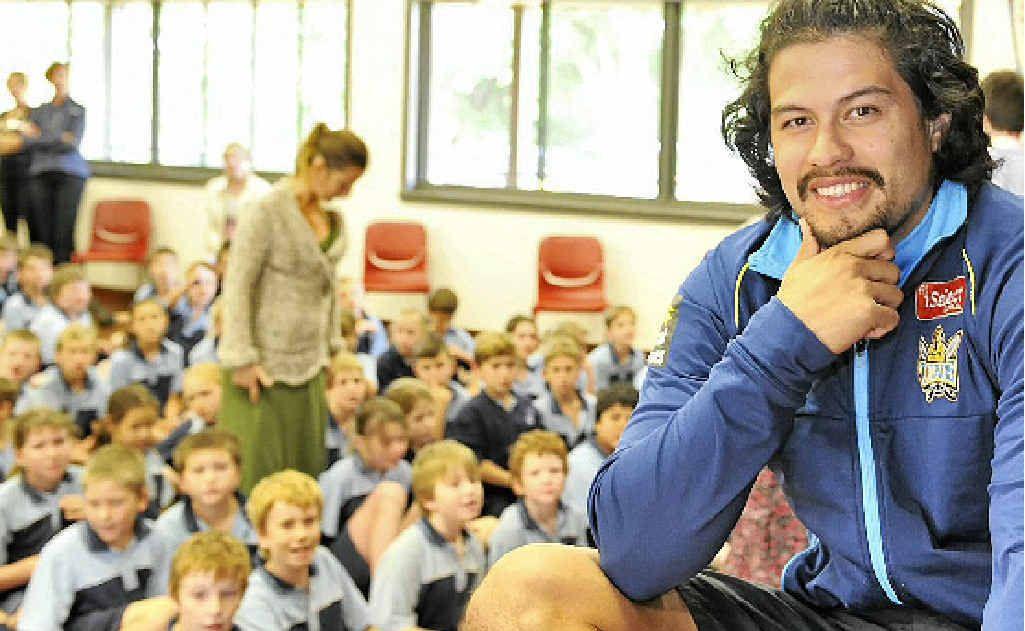 Kevin Gordon, Titans NRL Player visiting St Joseph's Primary School, in Alstonville