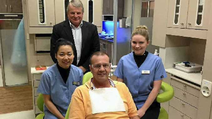 At the launch of the new Westfund Dental Care Practice are, from left, Dr Gejing Huang, Westfund managing director Grahame Danaher, Westfund member John Bankie and dental nurse Rebekah Blackwell.