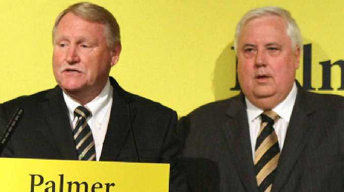 Billionaire businessman Clive Palmer (right), in Rockhampton announcing new candidates for the Palmer United Party, pictured with Dawson candidate Ian Ferguson.