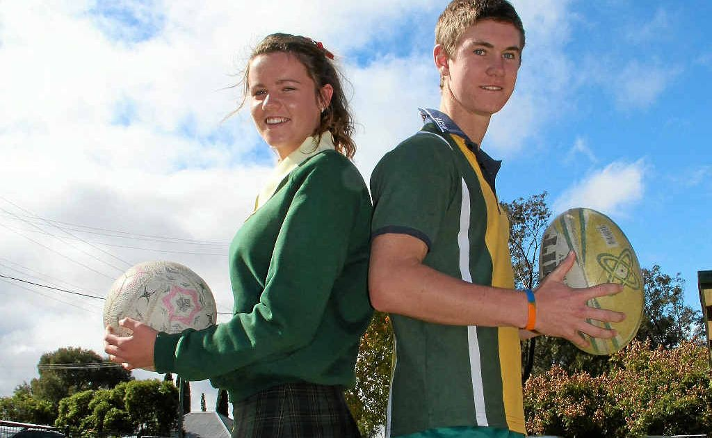Assumption College students Dimity Brackin and Ty Lockhart are keen to lead their teams to victory in the Anglo American Broncos Challenge today.