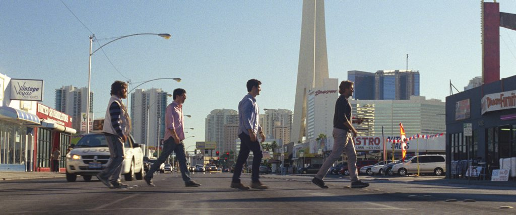 From left, Zach Galifianakis, Ed Helms, Justin Bartha and Bradley Cooper in a scene from the movie The Hangover Part III.