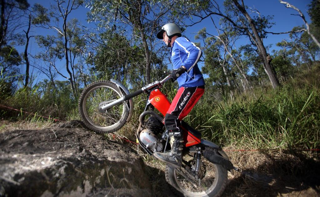 Trials rider Paul Lynam on his Montesa. Photo Allan Reinikka / The Morning Bulletin
