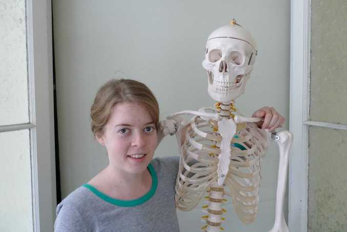 MYSTERY SOLVED: CQUniversity physiotherapy student Claire Olds and her skeleton Stanley have been identified as pair causing Bundaberg drivers to look twice when Stanley takes a seat in the passenger's seat. Photo Contributed
