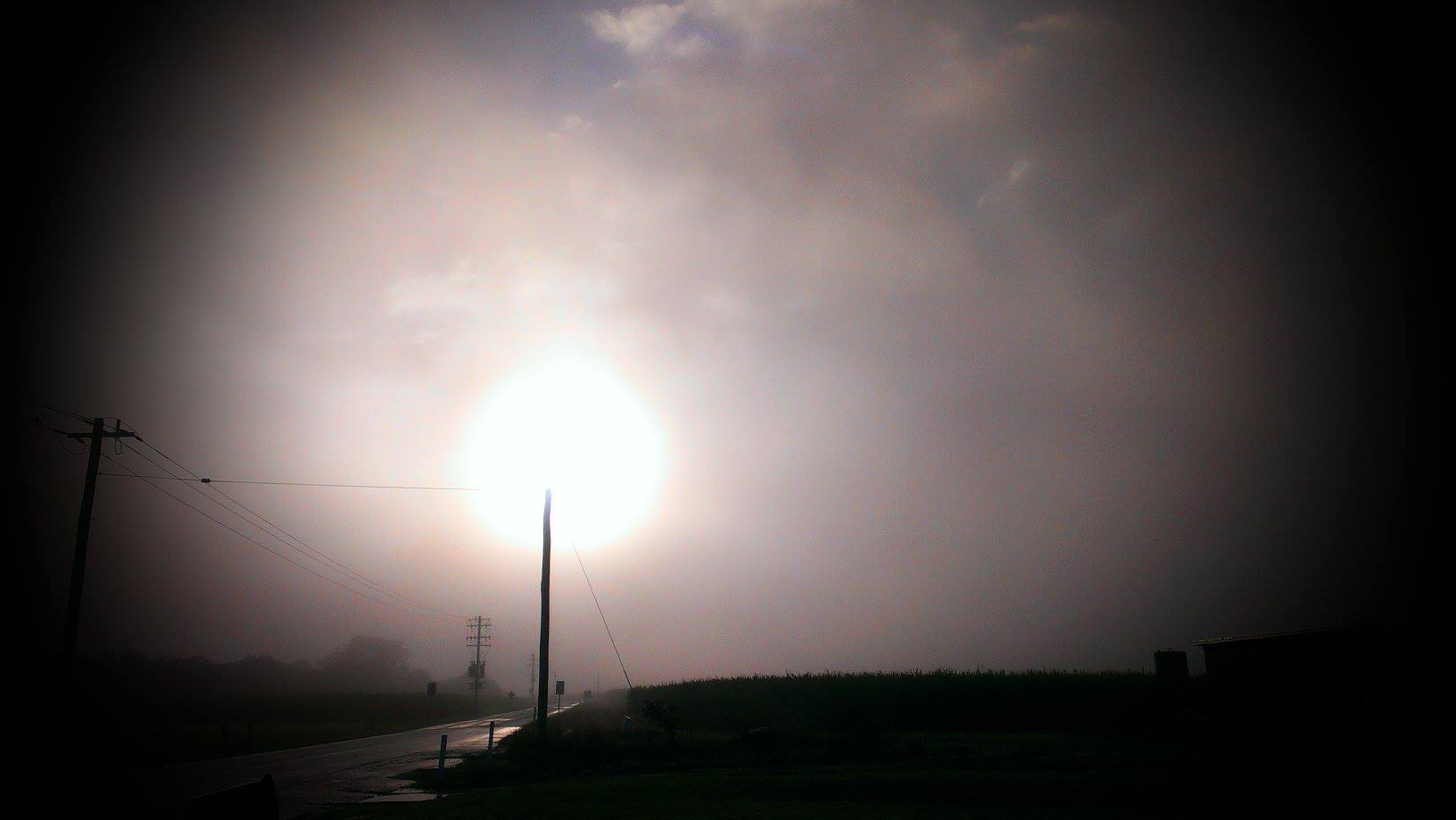 Tammy Houston of Wardell took this photo of fog on River Drive at East Wardell this morning. Motorists are being urged to take care in foggy conditions after several crashes in this morning's mist.