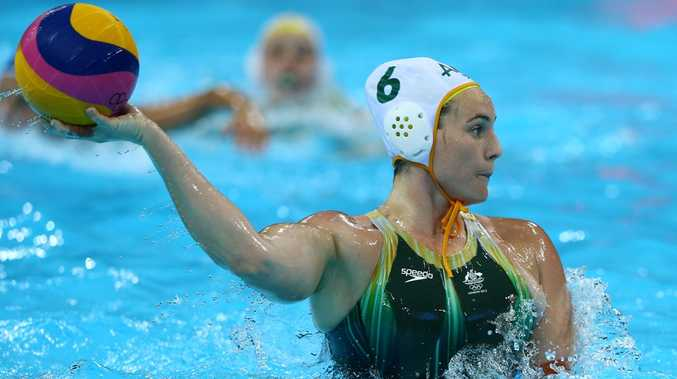 Bronwen Knox #6 of Australia passes the ball during the Women's Water Polo Bronze Medal match between Australia and Hungary on Day 13 of the London 2012 Olympic Games.