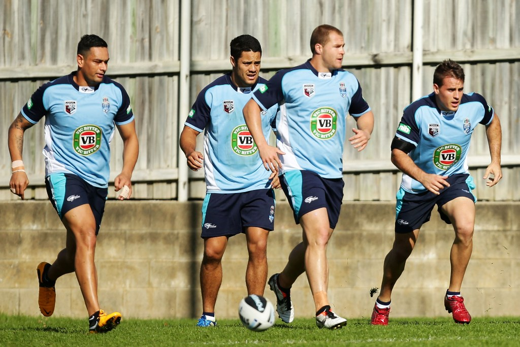 John Sutton (L) and Josh Reynolds (R) warm up during a New South Wales Origin training session at Coogee Oval on May 30, 2013 in Sydney, Australia.