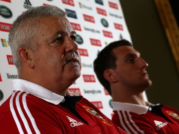 British and Irish Lions head coach Warren Gatland (L) and captain Sam Warburton.
