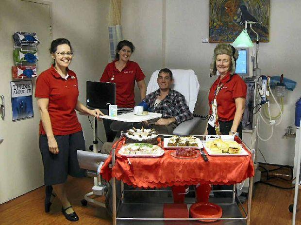 Patient Trevor Roberts with clinical nurse Alison Kernan, nurse unit manager Julie McRae and clinical nurse Trish Gilroy.