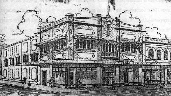 A drawing of the building in 1920 when it was Rockhampton's Trade Hall. Drawing courtesy of CQUniversity Central Queensland collection.