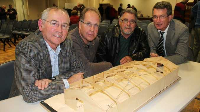 LET'S BUILD IT: At last week's launch of the Ballina Community Men's Shed relocation and expansion program (from left) co-ordinator Graham Eggins, fundraising co-ordinator Ray Carrall, president of the Rotary Club of Ballina Garry Packham and Ballina GP Dr Chris Jambor. Photo Graham Broadhead / Ballina Shire Advocate