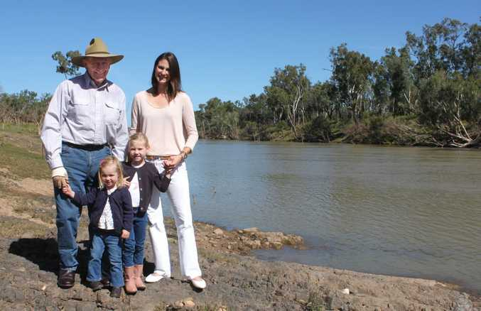 Sir Graham McCamley has always loved the river running through his property, Tartrus, and says it has helped in his success. His granddaughter Felicity lives on the property with her two daughters Hara, 2 and Tally, 5 but will say goodbye to the family home when Sir Graham sells all his properties at auction in Rockhampton on June 5. Photo Kathleen Calderwood / The Morning Bulletin