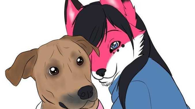 Becca Fox's fursona (right).