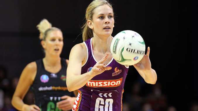 Jacinta Messer of the Firebirds passes during the round 13 ANZ Championship match between the Firebirds and the Fever at Brisbane Convention & Exhibition Centre on June 24, 2012 in Brisbane, Australia.
