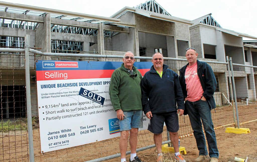 THEY'RE BACK: Builder Eddy Lees, project manager Gary Johnstone and Ken Jordan of Ken Jordan Swimming Pools onsite .