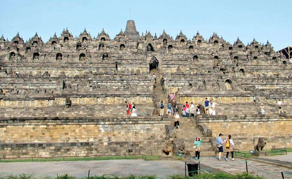 The world's biggest Buddhist temple at Borobudur.