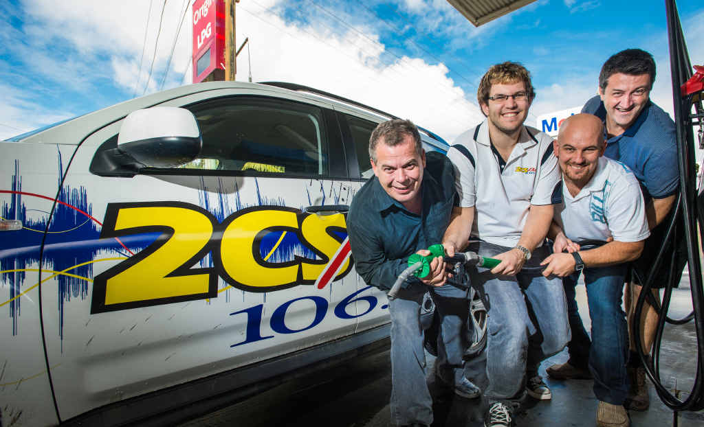 10 CENTS OFF: 2CS FM's Jason McLean and Jarrad Brooke, Terry Powick and Shane Cronin of the Bailey Centre Mobil launch the fuel fundraiser.