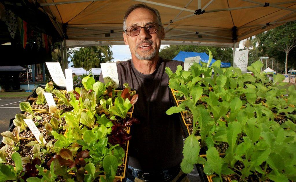 Greg James with some farmers choice organics. Photo: Blainey Woodham / Daily News
