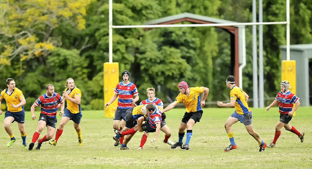 HARD-FOUGHT: Action from the SCU-Bangalow Rebels contest on Saturday.