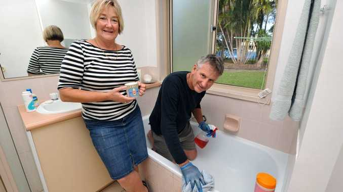 Husband and wife cleaners Trevor and Janet Holland of Trev and Jan Home Services in Yandina show that some men get involved in household chores.