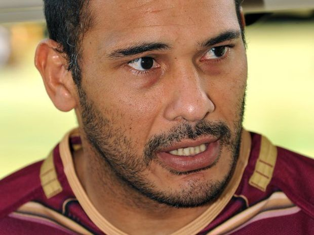 Justin Hodges speaks with the press at the Palmer Coolum Resort ahead of an Origin training session. Photo: Iain Curry / Sunshine Coast Daily