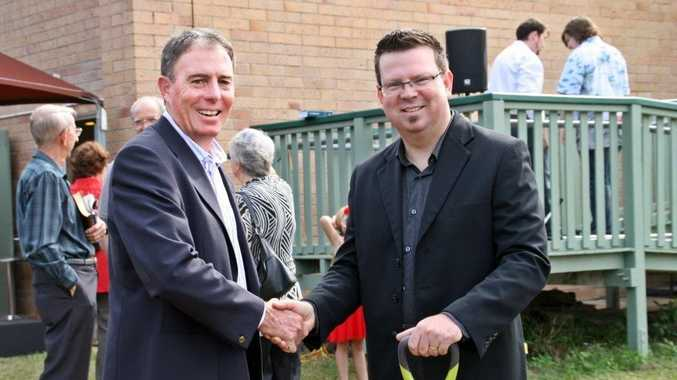 Fraser Coast Mayor Gerard O'Connell and Maryborough Wesleyan Church senior pastor Rob Simpson at a groundbreaking ceremony for a new facility.