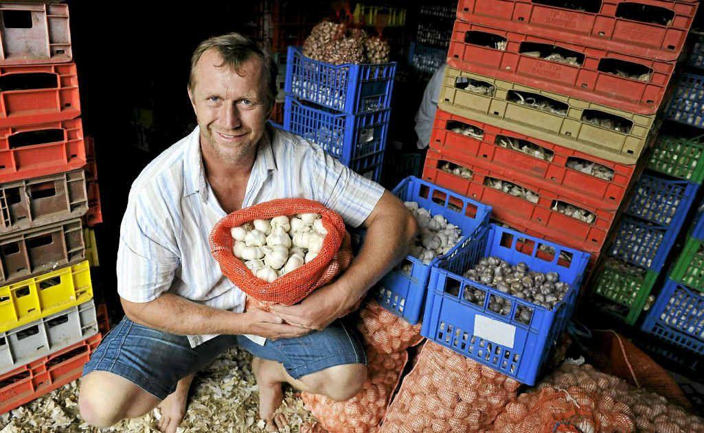 Gourmet Garlic Company owner Will Cotterill, at his Rosbank property, Boomerang Creek Farm.