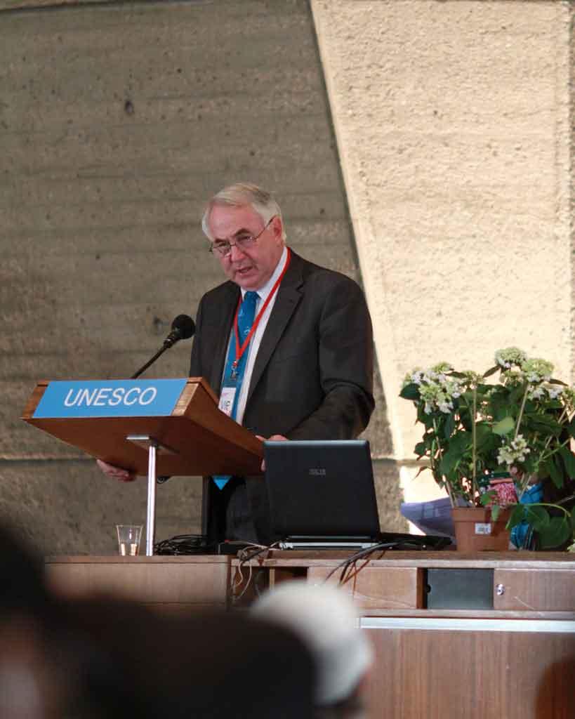 Mayor Paul Antonio at the UNESCO peace and harmony forum in Paris.