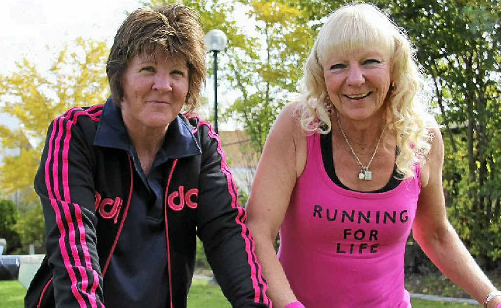 FIT AND READY: Karen Gilchrist and Sonya Carr and set to tackle a 210km run over five days to raise money cancer research.