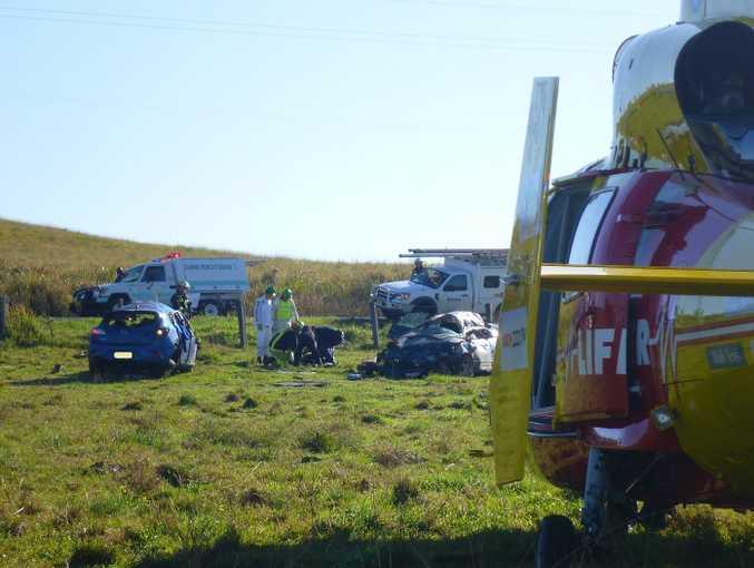 Scene of a crash at Dyraaba where Shaun Zagar, 28 and his children Kaleb, 6, and Zara, 5, were killed while waiting for a school bus.