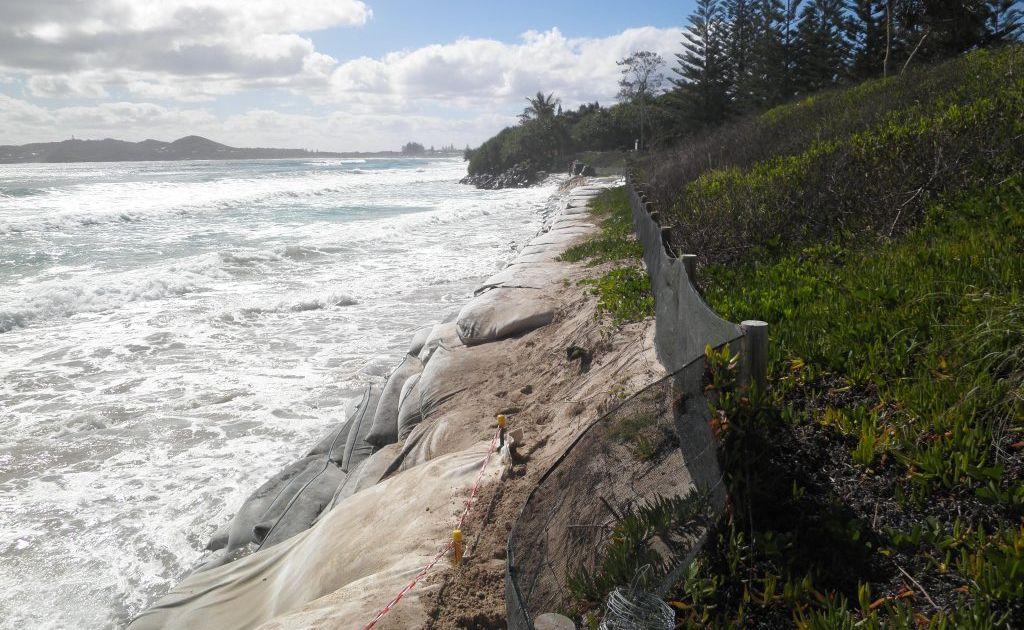 King tide eats into the shoreline at Belongil Beach