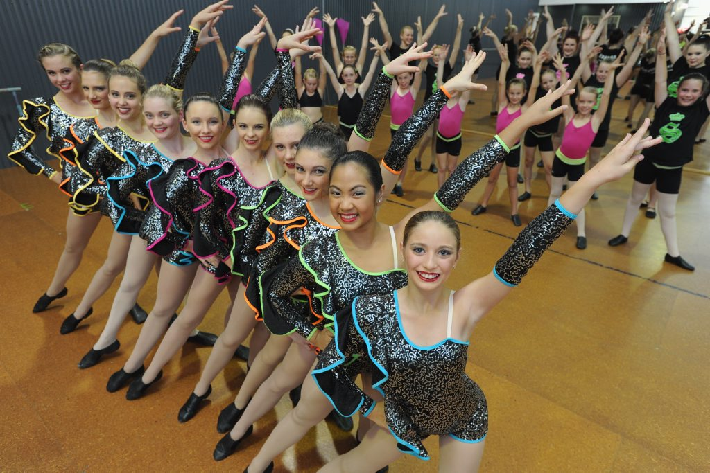 Tiana Macarlino (front) with other students from Sparks Dance Centre are going to Disneyland to perform.