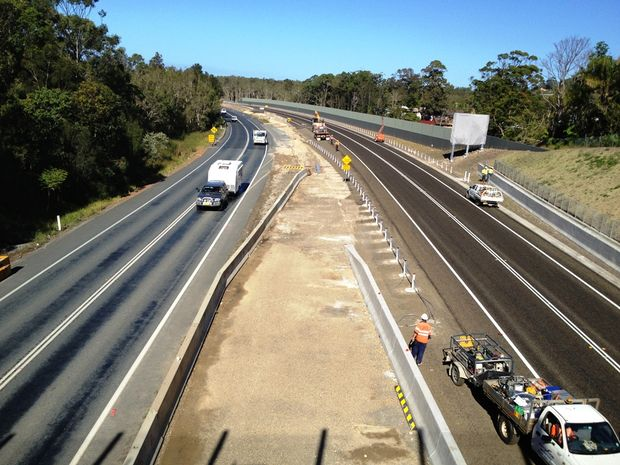 The Pacific Hwy upgrade is taking shape as this shot looking south from the Sandy Beach overpass shows. Photo: Trevor Veale / Coffs Coast Advocate