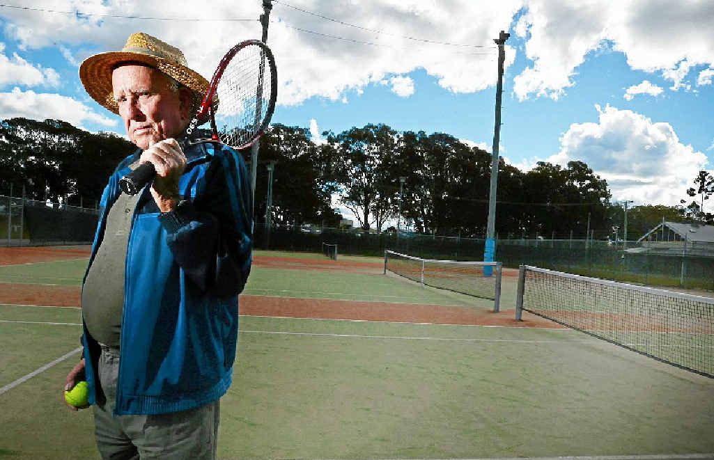 PLAYING FOR KEEPS: Harry Yates, Evans Head Tennis Club's oldest player is hopeful the club will have a new venue.