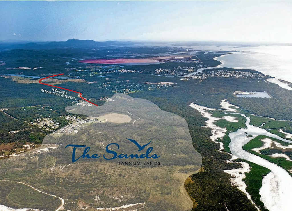 An aerial view of where developer Lyons Capital plans to build a 2000-lot housing estate, The Sands in Tannum Sands.