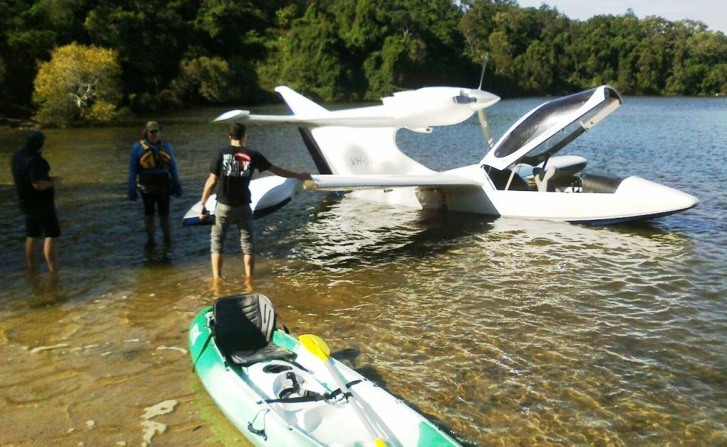A sea plane experiencing engine troubles ditched in Bonville Creek. Photo: Contributed
