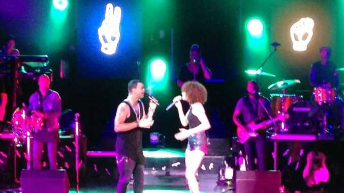 Guy Sebastian performing on stage at the Brolga Theatre on Tuesday night.