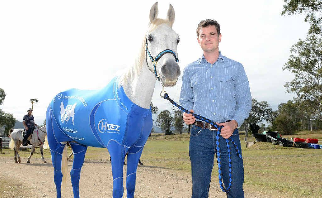 Brooloo's Mark Grogan and his mount Brookleigh Maestro are ready for the big race. Mr Grogan had his horse suited up in the latest Hidez compression suit for horses.The suit helps with muscle recovery and injury.