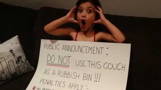 Six-year-old Indigo had an announcement board created by her mother to get the message across that if she dumps her rubbish in or behind the couch again, she faced harsh punishments.
