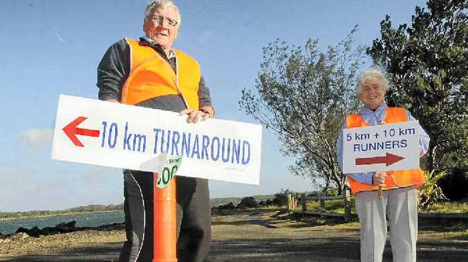 THIS WAY: Ballina Lions Barry Haines and Beverley Grant are volunteers who will be helping out at the Lions Fun Run-Walk on Sunday.