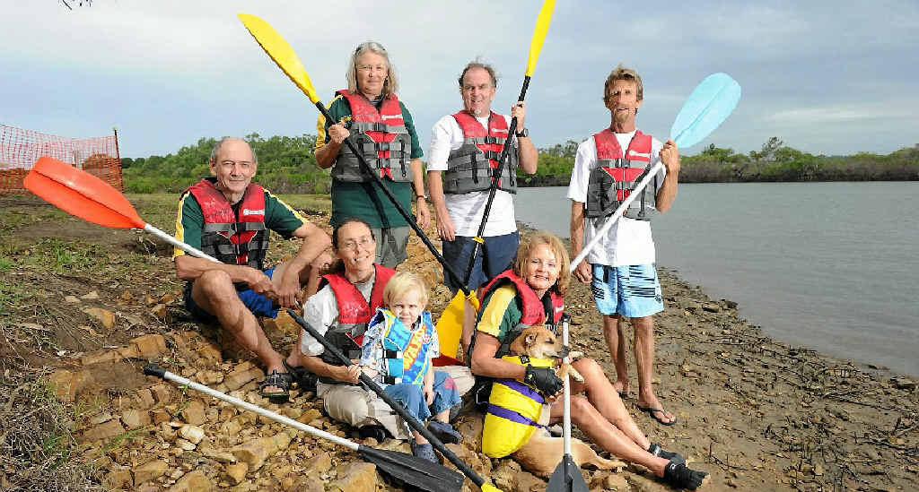 From left, Vicki Stringfellow, Sabine Holt, Mandela Symons, 2, John Hughes, Sunirmalya Symons, Ruth Gledhill, Jean Osanz and dog Kismet.