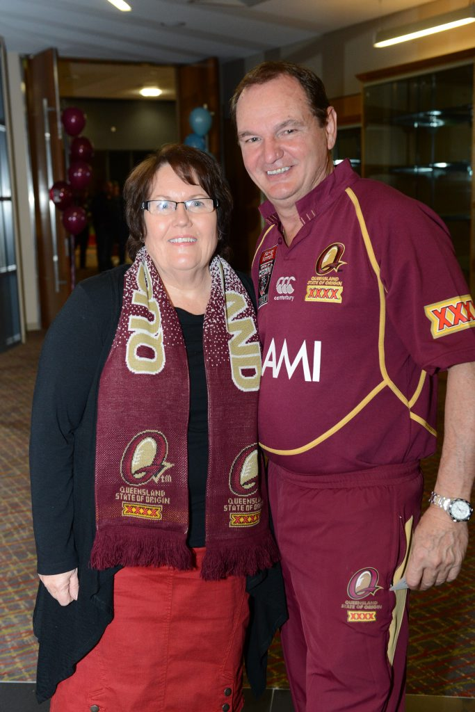 Mayor Paul Pisasale with his wife Janet at North Ipswich Reserve on Wednesday night to watch the State of Origin.