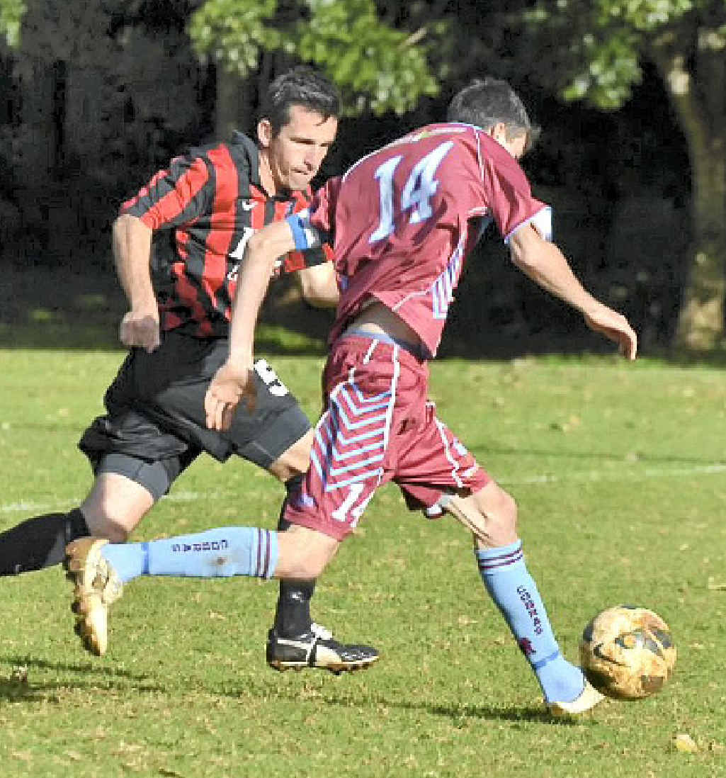 MARKING HIS MAN: Alstonville's Joel Organ, left, will be hoping his side can claim victory when it faces Bangalow in Far North Coast men's premier division soccer tonight.