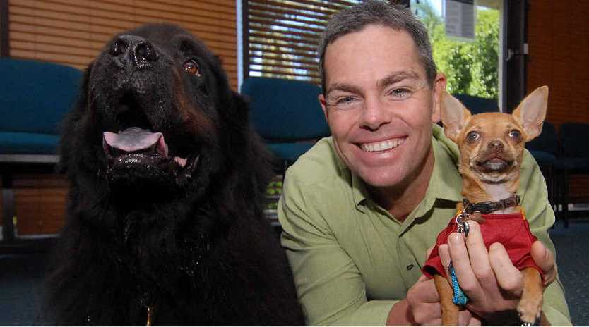 Craig Lowndes with dogs Apollo and Ping Ping.