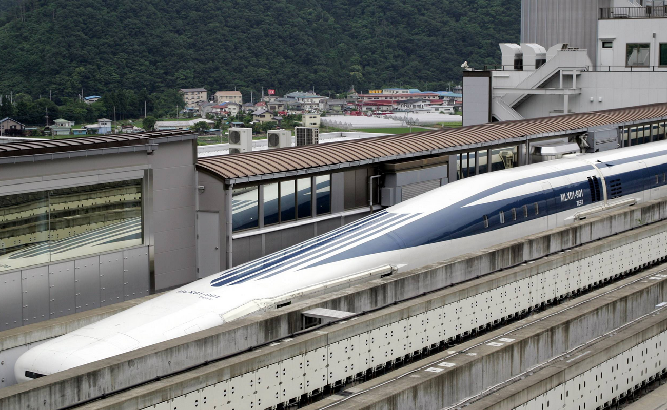 The maglev trains have aerodynamic elongated 'noses'.
