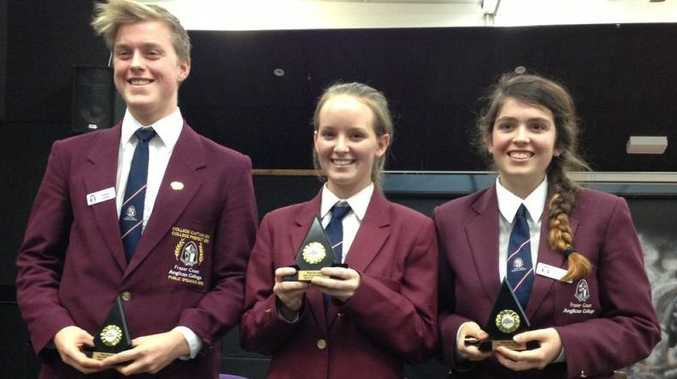 Frances Harvey, Georgia Coles and Brittany Sandeman form the Fraser Coast Anglican College's winning senior debating team.