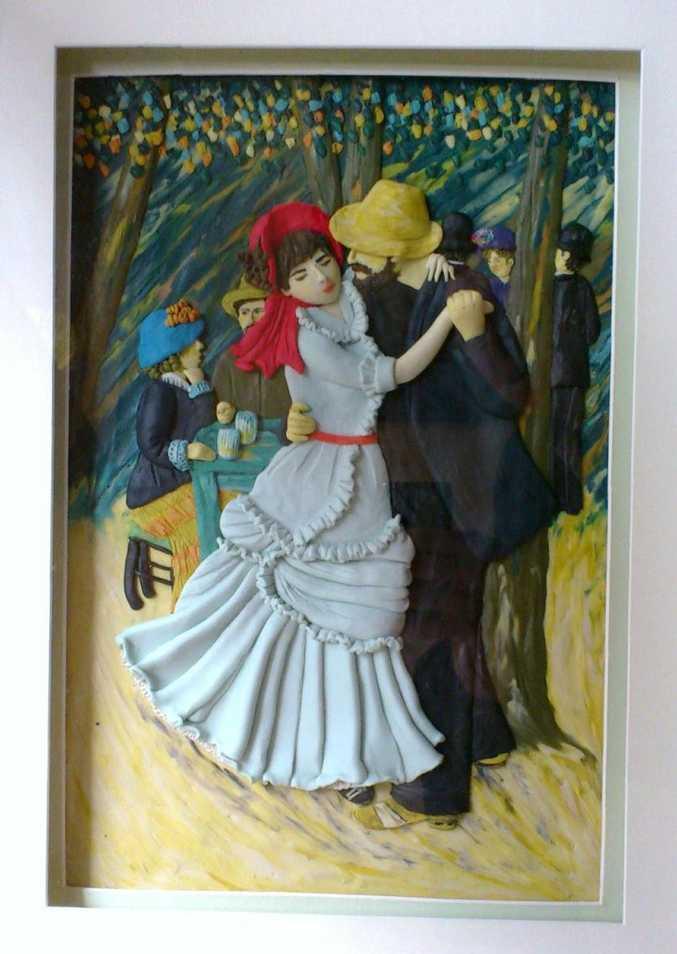 Plasticine interpretation of Renoir's famous 1883 Dance at Bougival