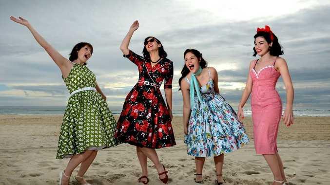 Lisa Brown, Donna Fleming, Jiorgia Collingridge and Nadia Coe Gingham dressed by That Shop on Coolangatta Beach.