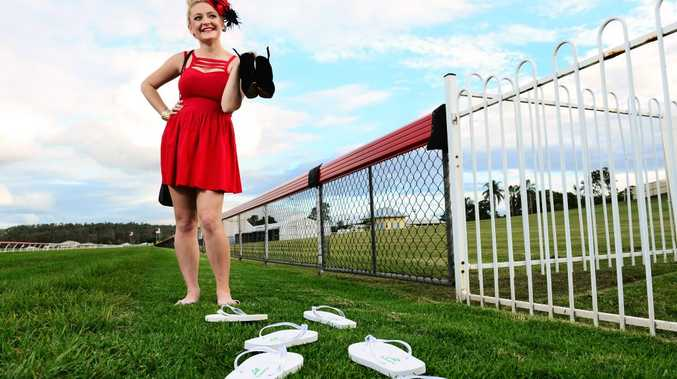 THONGS ARE THE THING: Ellen Kitching models the new Ipswich Turf Club thongs that will be available for women to buy on Ipswich Cup Day.