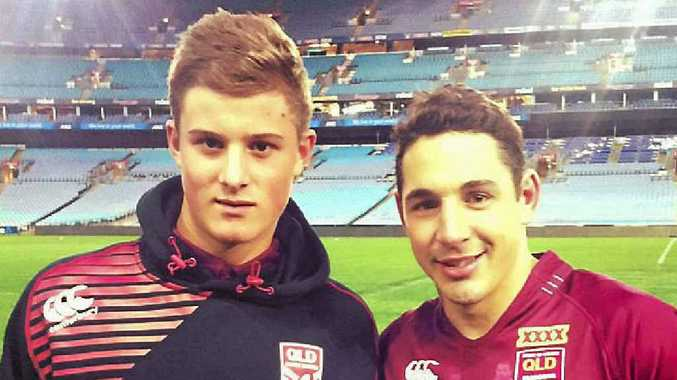 Mackay's Mitchell Dunn meets one of his NRL heroes Billy Slater.
