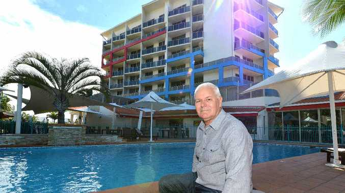 ROOMS WITH A VIEW: Clarion Hotel Mackay Marina general manager Rob Park by the hotel pool, which has attracted lots of interest since it went on the market.